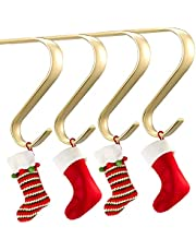 Oubomu Zinc Alloy Christmas Stocking Hangers for Mantel Set of 4, Fireplace Adjustable Stocking Holders with Non-Skid Mat, Christmas Decoration Necessary, Bright Gold
