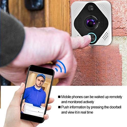 ドアベル、ポータブル1080PパノラマWIFIバッテリーインターホンドアベルワイヤレスナイトビジョンビジュアルドアフォン(家庭用およびオフィス用)