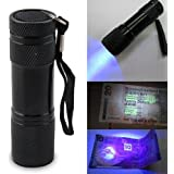 Blacklight Invisible Ink Marker 9 LED UV Ultra Violet Flashlight Torch Light Lamp 3AAA for Hiking Camping Cycling