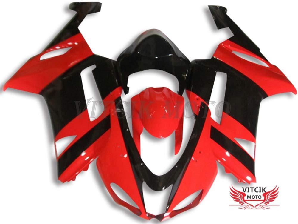 VITCIK (フェアリングキット 対応車種 カワサキ Kawasaki ZX6R ZX-6R Ninja 636 2007 2008 ZX6R ZX-6R Ninja 636 07 08) プラスチックABS射出成型 完全なオートバイ車体 アフターマーケット車体フレーム 外装パーツセット(レッド & ブラック) A050   B076M4Z1VK