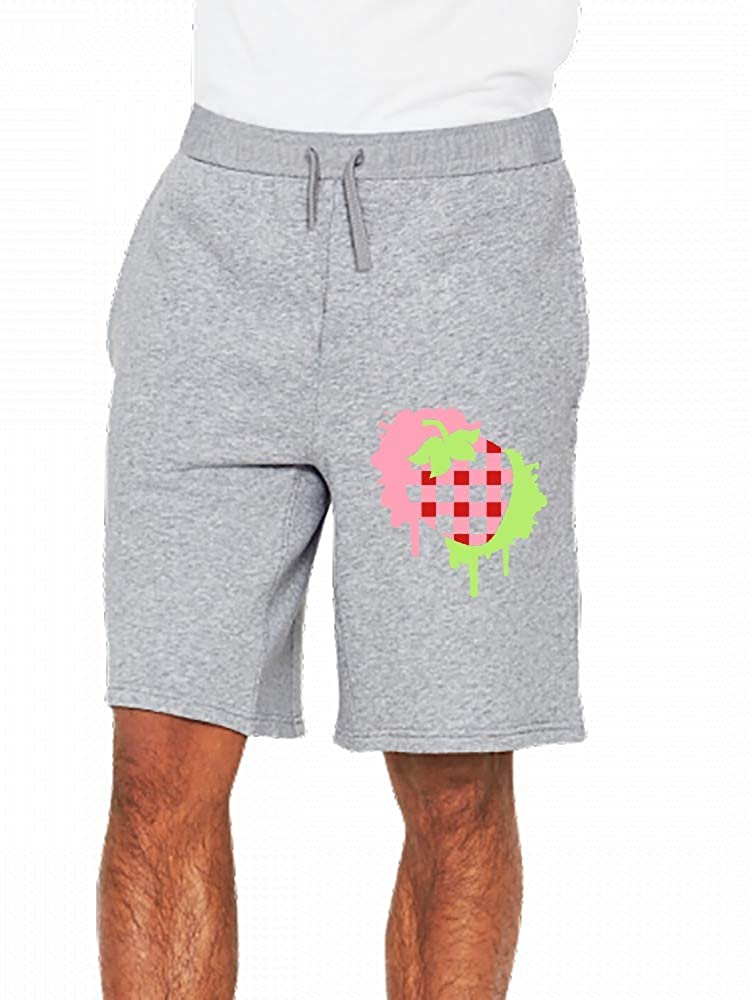 A Checkered Strawberry in Graffiti Style Mens Casual Shorts Pants