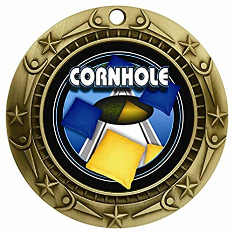 1 to 25 Packs 3 Gold Full Color Cornhole Medals with Neck Ribbon Award WCMB