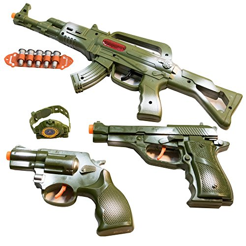 TukTek Kids First Elite Force Military Play Toy Gun Set of 5 w/ Rifle & Pistols for Boys & Girls -