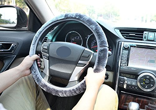 126 Cashmere (Gray Fashion Universal Fit Winter Car Steering Wheel Cover in Soft Cashmere Imitation Steering Wheel Cover Medium Size Odorless 4 Colors For)
