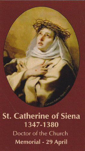 (Saint Catherine of Siena Holy Card Wallet Size Patron of Nurses)