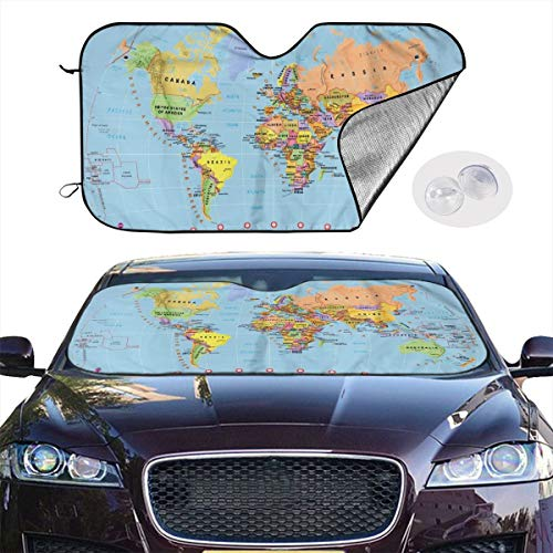 DLZXHomer World Map Wallpaper Car Sunshade Windshield 27.5X 51.2 In/30x55 in Suitable for Most Models -Keep Your Vehicle Cool. UV Sun and Heat Reflector Protection