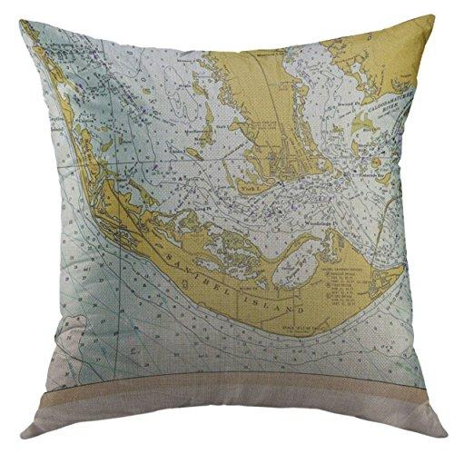 Mugod Decorative Throw Pillow Cover Captiva Sanibel Island Florida Vintage Nautical Home Decor Pillow case 18x18 Inch