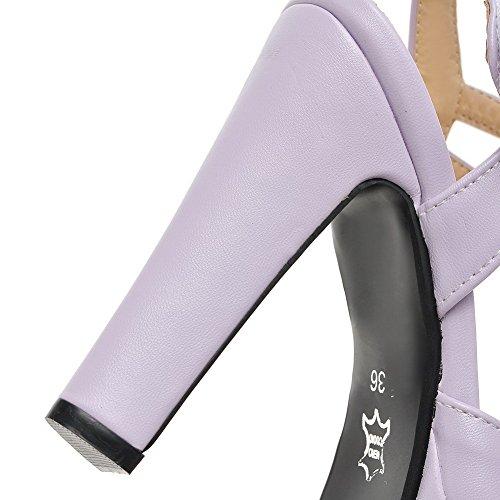 Talon Unie TSFLH006659 Ouverture Haut AalarDom d'orteil Femme Violet à Velcro Couleur Sandales vqwX0Cwa