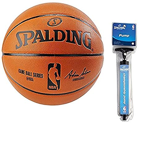 Spalding NBA Indoor Outdoor Intermediate Size Replica Game Ball with Pump e1731161a
