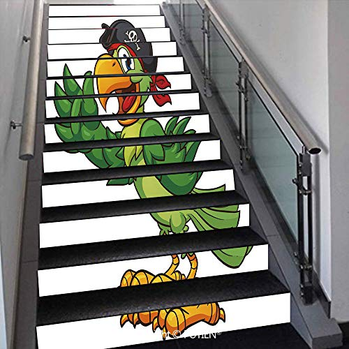 Elegant Stair Stickers Wall Stickers,13 PCS Self-Adhesive [ Pirate,Cartoon Parrot with Pirate Hat Ey -