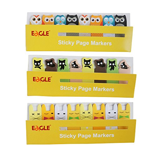 Eagle Cute Cartoon Animal Sticky Page Markers,Sticky Notes, Flag Markers, Bookmarkers, 15 Sheets/Pad, 8 Pads/Set, 3 Sets, Total 360 Sheets (Yellow)
