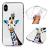 iPhone X/iPhone Xs Case, Clear Soft TPU Silicone Ultra-Thin Slim Fit Transparent Flexible Cover Non-Slip Perfect Grip for iPhone X/iPhone Xs, Giraffe