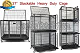 Cheap New 37″ Homey Pet Open Top Heavy Duty Dog Pet Cage Kennel w/ Tray, Floor Grid, and Casters