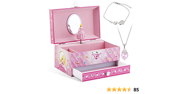 Kids Musical Jewelry Box for Girls with 3 Drawers and Jewelry Set with Cute Princess Theme Beautiful Dreamer Tune Pink