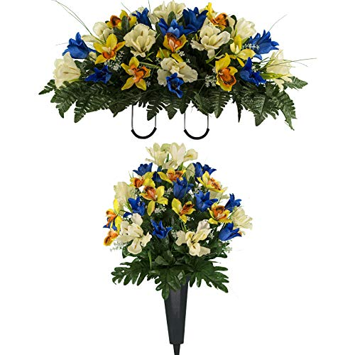 - Sympathy Silks Artificial Cemetery Flowers - Realistic Vibrant Tulips, Outdoor Grave Decorations - Non-Bleed Colors, and Easy Fit - One Blue Yellow Tulip Bouquet and One Blue Yellow Tulip Saddle