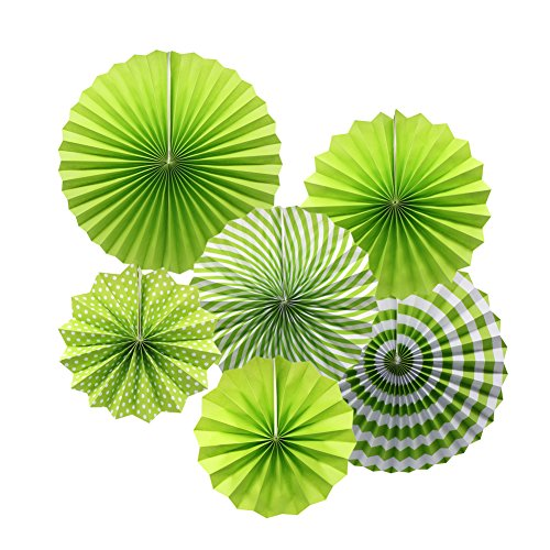 Party Hanging Paper Fans Set, Green Round Pattern Paper Garlands Decoration for Birthday Wedding Graduation Events Accessories, Set of 6