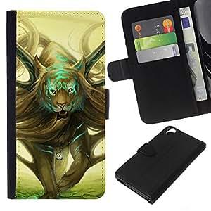 KLONGSHOP // Tirón de la caja Cartera de cuero con ranuras para tarjetas - Arte salvaje del tigre mágico Dibujo Tiempo Simbólico - HTC Desire 820 //