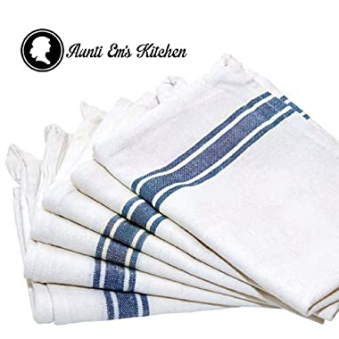 Kitchen Dish Towels with Vintage Design, 100% Natural Cotton Kitchen Towels (Size: 25.5 x 15.5 inches) - 6 Pack Dish Towel Set - White with Blue Stripe