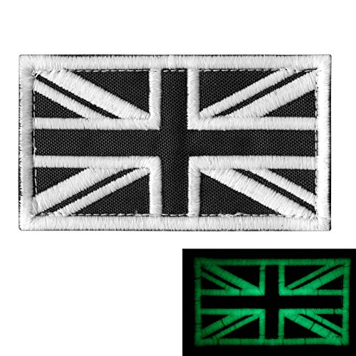 Glow Dark Great Britain UK Union Jack Flag Morale Tactical Badge Army Embroidery Hook-and-Loop Patch (Union Jack Badges)