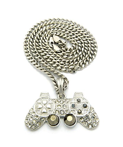 Mens Iced Out Silver Playstation Game Controller PS3 PS4 Pendant Cuban Chain Necklace (Professional Ps3 Controller)