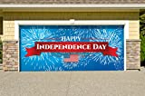Outdoor Patriotic American Holiday Garage Door Banner Cover Mural Décoration - Fireworks Happy Independence Day - Outdoor American Holiday Garage Door Banner Décor Sign 7'x 16'