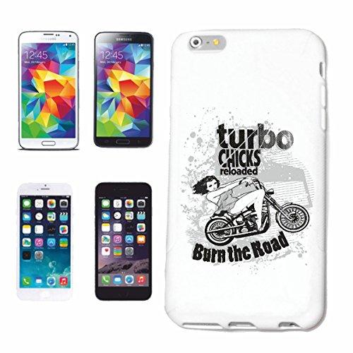 """cas de téléphone iPhone 7+ Plus """"POUSSINS TURBO BURN THE ROAD Motard SHIRT CHOPPER MOTO GOTHIQUE SKULL MOTO CLUB BIKE ROUTE 66"""" Hard Case Cover Téléphone Covers Smart Cover pour Apple iPhone en blanc"""