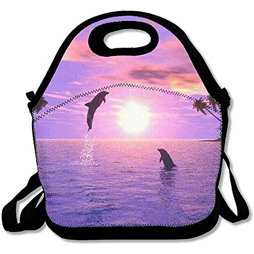 Reusable Lunch Bag Sunset Dolphins Food Handbag Custom Lunch Holder Printed Lunch Tote Bag Multi-function Lunch Box Organizer For Adults And Kids ()