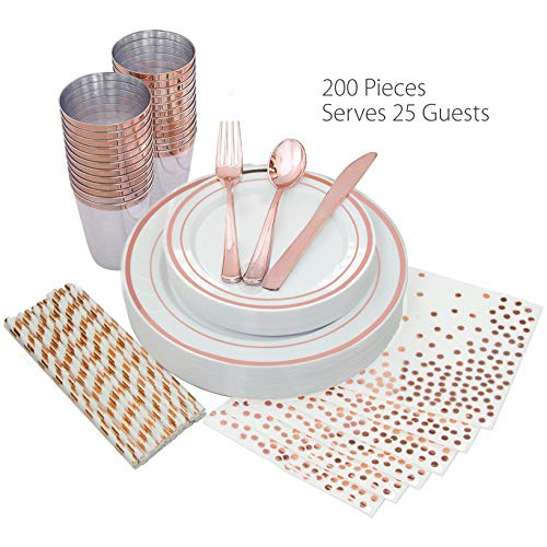 25 Guest Disposable Rose Gold Dinnerware Set Heavy Duty Plastic Plates Cups, Silverware, Napkins & Straws | Wedding, Birthday, Baby shower, Bridal Shower, Anniversary Party Supplies & Decorations ()