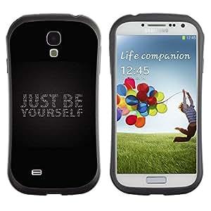 "Pulsar iFace Series Tpu silicona Carcasa Funda Case para SAMSUNG Galaxy S4 IV / i9500 / i9515 / i9505G / SGH-i337 , Apenas sea usted mismo Negro Bling texto gris"""