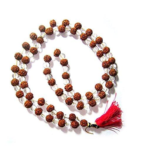Oma Rudraksha Rudraksh & Natural Crystal Sphatik Necklace Mala for Meditation & Healing - OMA FEDERAL (TM) BRAND