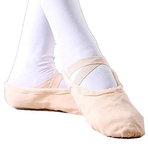 Amazon.com: Zapatillas de ballet para niñas de lona http ...
