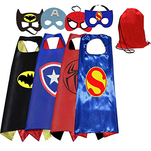 Toygoyou Kids Costumes 4pcs Superhero Capes with Masks and Red Bags for Boys Dress Up Party Favors