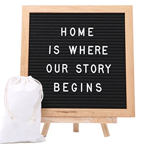 J&A Homes Felt Letter Board Sign – Oak Frame, Black Felt, Over 300 White Letters, Numbers, Special Characters, Symbols and Emojis – Wall Mount and Stand