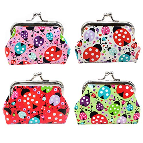 Oyachic 4 Packs Coin Purse Cute Change Purse Clutch Wallet Kiss Lock Pouch with Clasp Closure Gift for Girl Women (4 pcs -