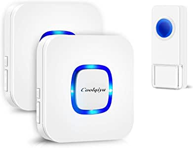 Coolqiya Wireless Doorbell Chime for Home with 1 Remote Waterproof Door Bell and 2 Plugin Receivers, 1000 Feet Long Range Transmission, No Battery Required for Receiver Over 50 Chimes