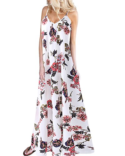 Kidsform Women Beach Dress Casual Sleeveless V-Neck Floral Long Maxi Holiday Dress White L