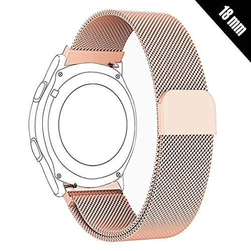 Antube 18mm Women Men Milanese Loop Mesh Stainless Steel Metal Watch Band Bracelet Strap for Huawei Watch, LG Watch Style, Nokia Withings Steel HR 36mm Smartwatch (Rose Gold)