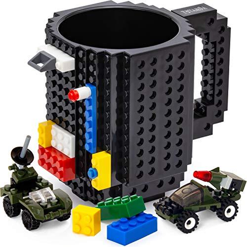 TOYAMBA Build-on Brick Mug BPA-Free Funny Coffee Mug with 3 Packs of Building Bricks, Funny Cups for Kids - Creative Building Block Mug DIY Idea 16OZ (Black)