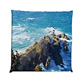 YOLIYANA Country Decor Durable Square Chair Pad,Aerial View of Australien Cliffs by The Sea with Waves Scary High Destination of Nature for Bedroom Living Room,One Size