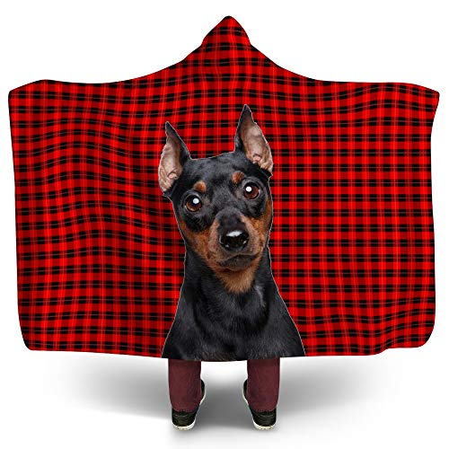 NIWAHO Miniature Pinscher Puppy Dog on Red Wallace Tartan Scottish Plaid Background Printing Hooded Blanket Sherpa Fleece Sweatshirt Blankets Throws for Adult, 80