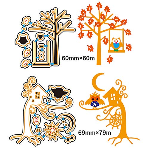 2 Set DIY Metal Tree Cutting Dies 3D Halloween Spider Web Owl Swing Paper Cutting Dies House Stencil Template Mould for DIY Cutting Templates Scrapbook Album Paper Card]()