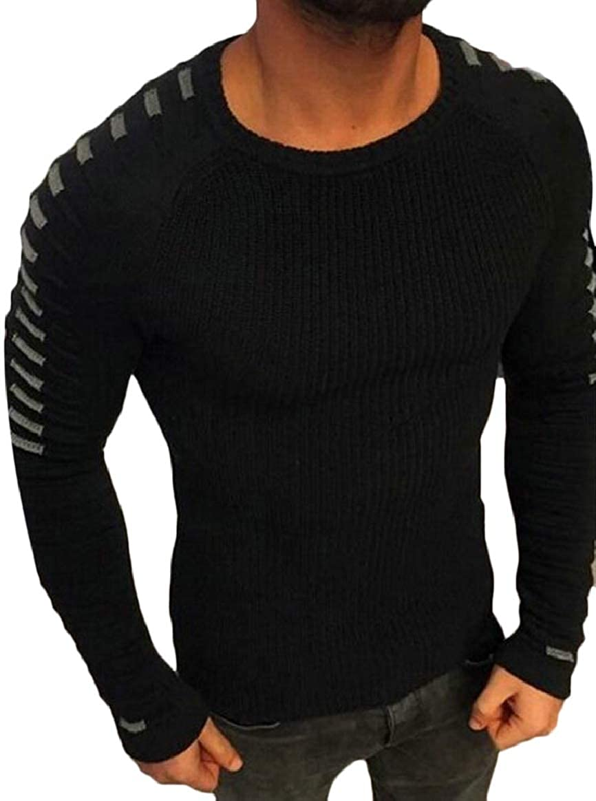 pujingge-CA Mens Slim Basic Knitted Longsleeve O-Neck Pullover Sweaters