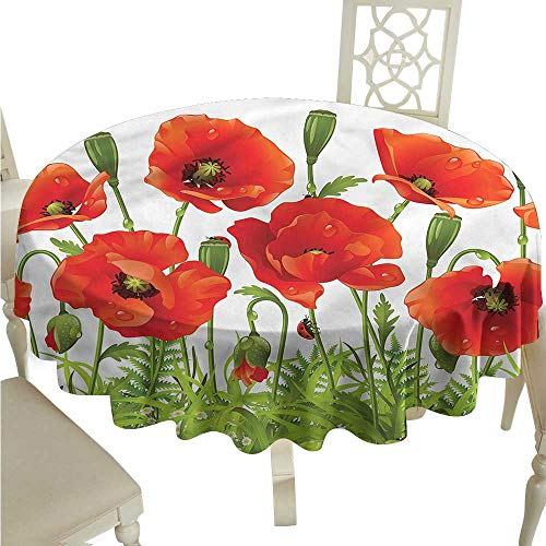 ScottDecor Outdoor Picnics Ladybugs,Red Poppy Flower Border Wrinkle Free Tablecloths Round Tablecloth D 60