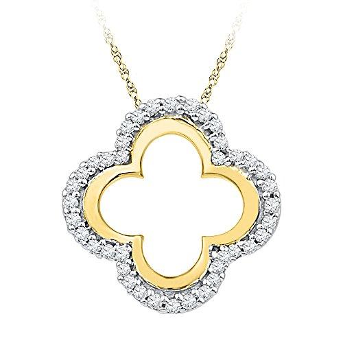 10K Yellow Gold Diamond Clover Shaped Necklace Pendant 1/8 Ctw.