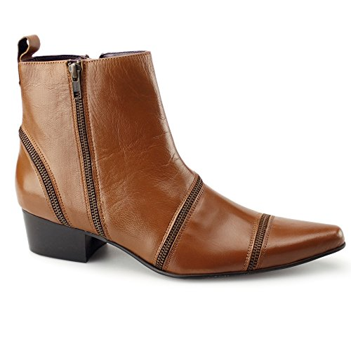 Gucinari Sandro Mens Leather Zip up Boots Tan Brown M91GdLMqJn