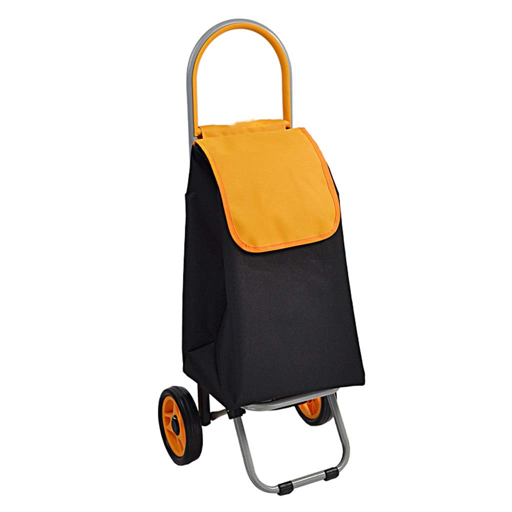 Bmwjrzd Shopping Cart, Hand Truck, Trolley Car Can Be Portable, Shopping Cart Folding (Color : Yellow)