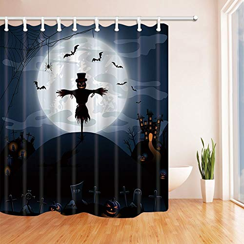 Rrfwq Scarecrow Shower Curtains Halloween Night Background with Castle and Pumpkins Polyester Fabric Waterproof Bath Hooks70.8 X 70.8 inches]()