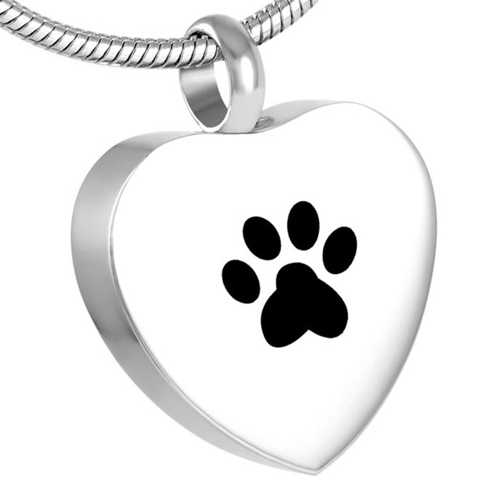 Hold Dog Paw Print In My Heart Cremation Jewellery Loss Of Pet Memorial Urn Necklace +Funnel Kits