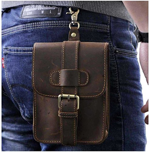 Leather Hip Belt (Le'aokuu Mens Genuine Leather Small Hook Fanny Waist Bag Hip Bum Pouch Pack (Dark)
