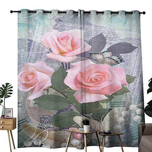 duommhome Pearls Noise Reduction Curtain Classic Rose and Pearls Romantic Dramatic Love Symbols Together Grace Bouquet Artwork Privacy Protection W108 x L84 Pink Grey